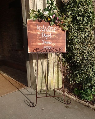 Sign - Natural Wood Distressed with Floral Brow