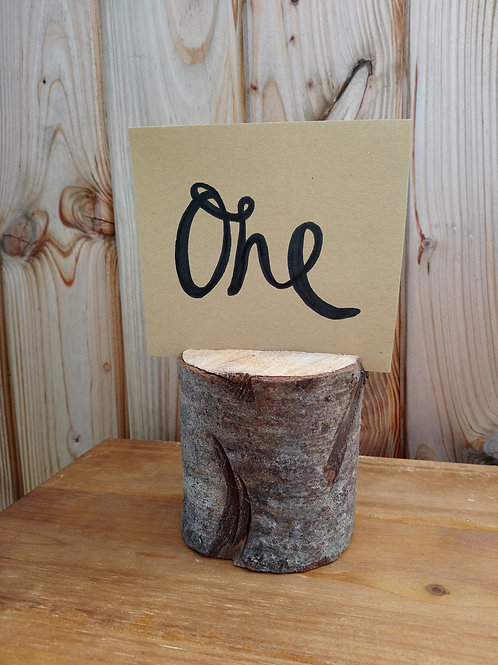 Table Number Card - Kraft Card Stock in Mini Log - Scrolly Writing