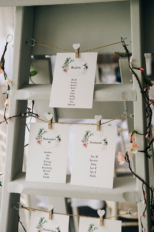 Table Plan - Stepladder with hanging printed stationery