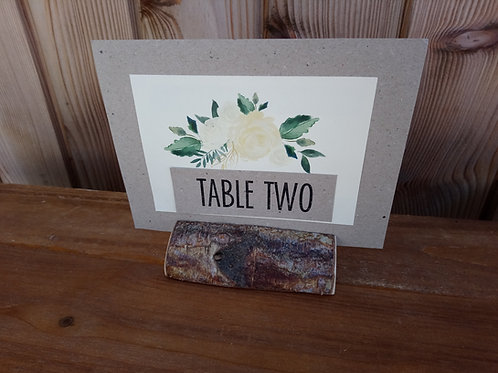 Table Number Card - Printed / Mounted Floral Decal in mini Log
