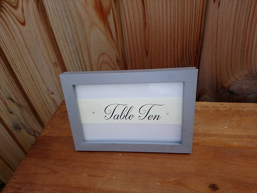 Table Number  - Grey Painted Frame