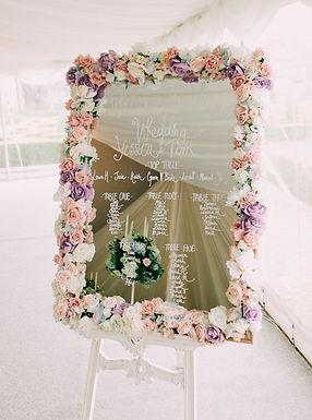 Table Plan - Floral Frame - Mirror - Pink Blush Lilac