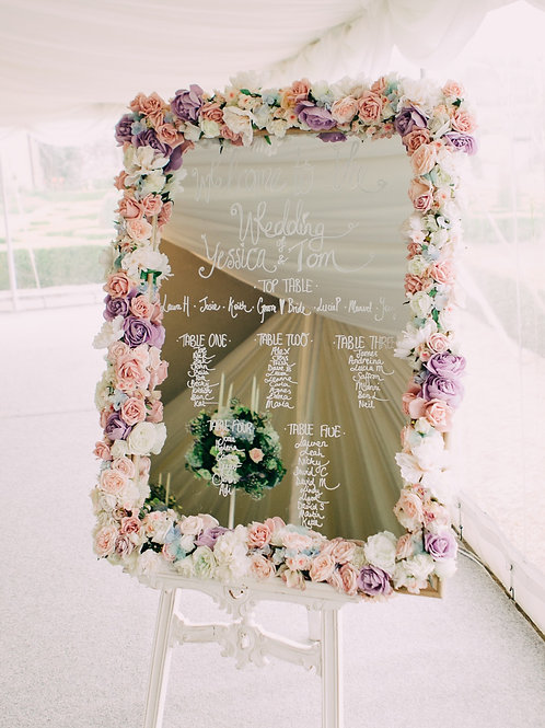 Table Plan - Floral Frame - Mirror - Pink Blush Lilac