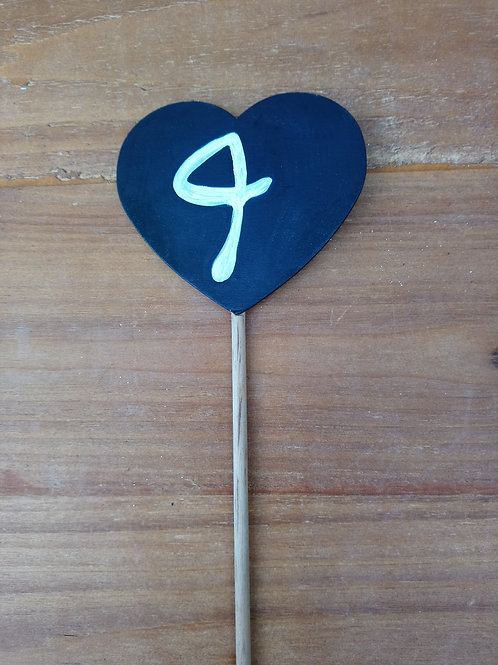 Table Number - Heart on Prong
