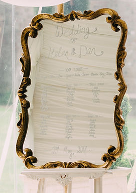 Table Plan - Gold Fleur De Lys Frame - Mirror - Chalk Script