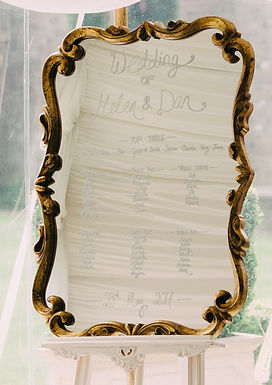 Table Plan - Gold Fleur De Lys Frame - Mirror - Chalk Script