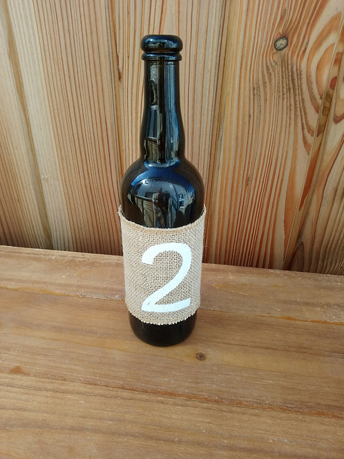 Table Number Bottle - Hessian Wrap