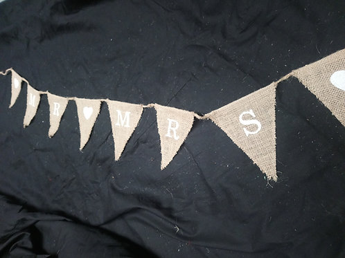 Bunting - Hessian Mr and Mrs printed