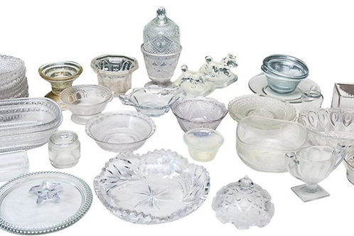 Containers - vintage glass - 12 x 1 litre with bags and tongs