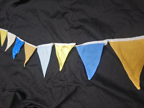 Bunting - Brown blue and yellow tones
