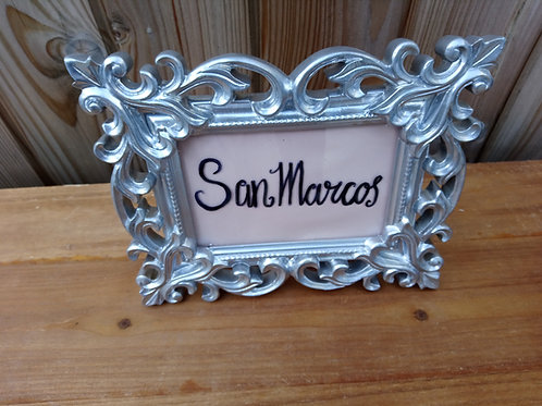 Table Number - Table Name - Frame Silver Scroll