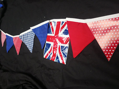 Bunting - Classic country fete, red white and blue with union jack flags