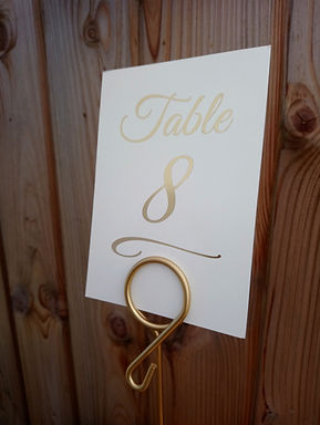 Table Number Card Metallic Font