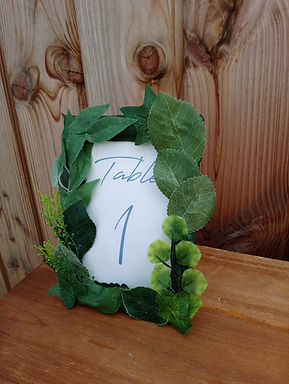 Table Number  - Green Foliage Frame