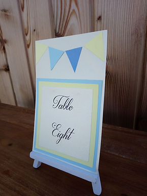 Table Number Card with Seaside Bunting Decal on Easel