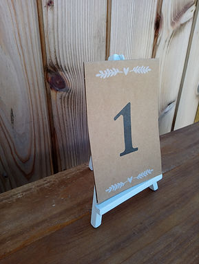 Table Number Card - Kraft Card Stock Printed with decal - on mini easel