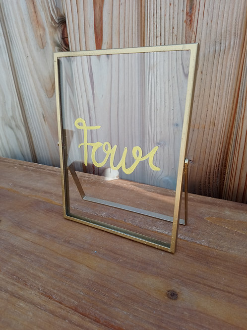 Table Name - Clear Glass  - Gold Frame
