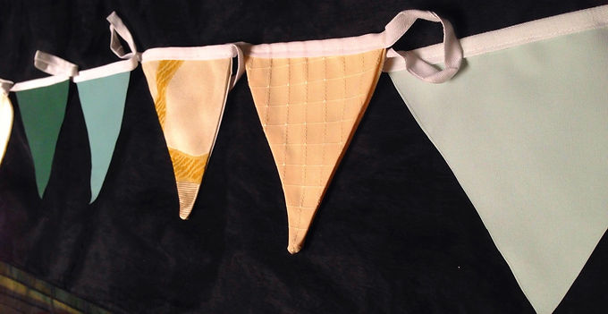 Bunting - Delicate jade tones with light peach