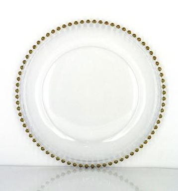 Crystal Glass Charger Plate with gold beads
