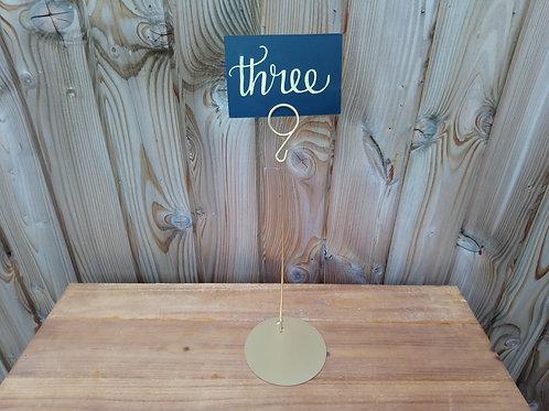 Table Number Sign on Gold Holder