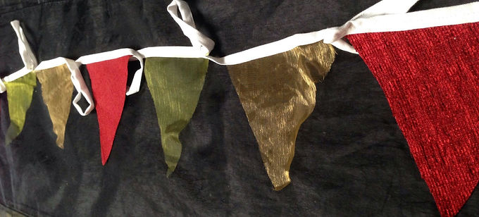 Bunting - Light sheer gold and olive shades with contrasting red
