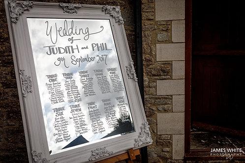Table Plan - Ivory Frame - Mirror - Chalk Script