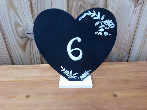 Table Number - Table Name - Mini Black Board Heart