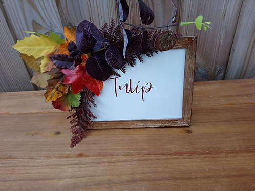 Table Number - Table Name - wooden frame