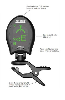 On-Stage GTA5000Clip-On Chromatic Tuner with Metronome