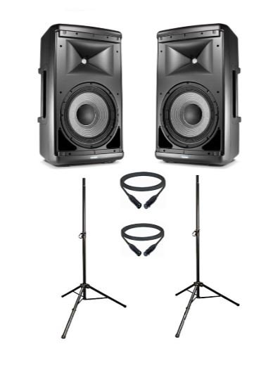 """JBL EON-610-DUAL-2-K JBL Active 10"""" Speaker Bundle with Stands and Cables"""