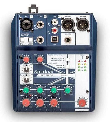 Soundcraft Notepad-5 Analog USB Mixer, New