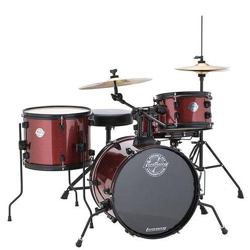Ludwig LC178X025 Questlove Pocket Kit 4-piece Drum Set - Red Wine Sparkle Finish