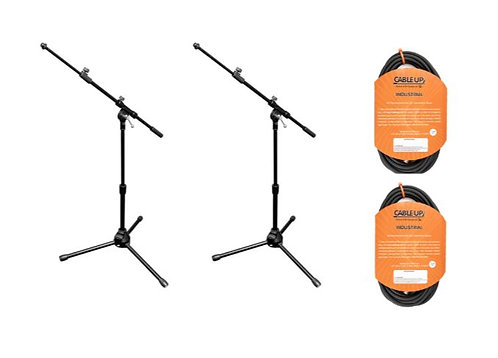 Vu MST100-PK2-K 2x Tele Boom Mic Stand and 2x 25' Microphone Cable Bundle