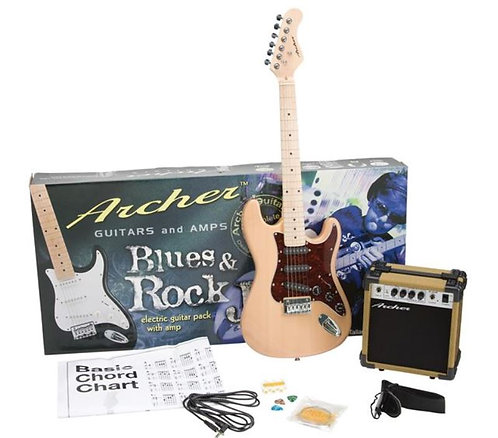 Archer SS10 Blues & Rock Jr. Electric Guitar Package - Natural