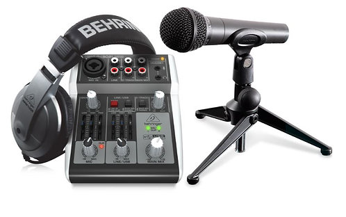 Behringer PODCASTUDIO-2-USB Podcasting bundle with USB Mixer, Microphone, Headph