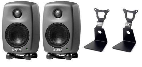 Genelec 8010 L-Stands Pack Bundle with (2) 8010AP Studio Monitors and (2) 8010-3