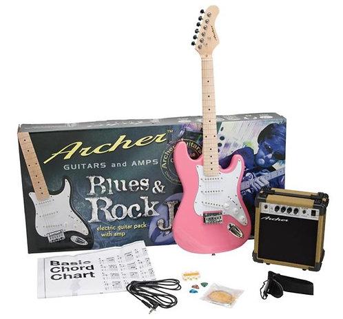 Archer SS10 Blues & Rock Jr. Electric Guitar Package - Pink