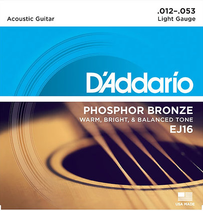 D`Addario EJ16-3D 3-Pack of Light Phosphor Bronze Acoustic Guitar Strings