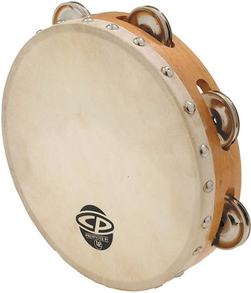 """Latin Percussion CP378 8"""" CP Wood Tambourine with Single Row of Jingles and Calf"""