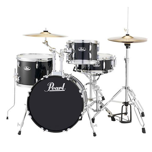 Pearl Roadshow RS584 4-Piece Drumset w/ Hardware & Cymbals - Jet Black