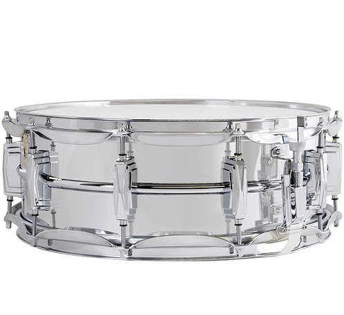 """Ludwig LM400 Supraphonic Smooth Chrome Plated Aluminum 5""""x14"""" Snare Drum w/ Impe"""
