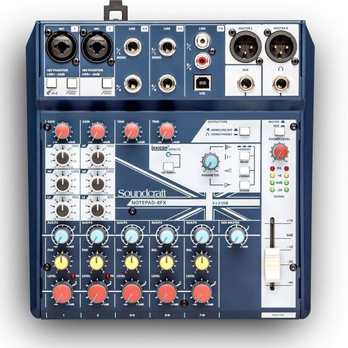 Soundcraft Notepad-8FX 8-Channel Podcast Mixer Podcasting Interface, USB+Effects