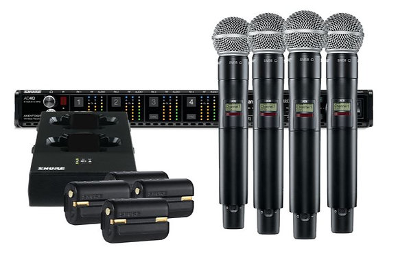 Shure AD24Q/SM58-G57-II Axient Quad Channel Handheld Wireless Bundle with 4 SM58