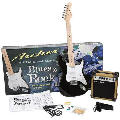 Archer SS10 Blues & Rock Jr. Electric Guitar Package - Black