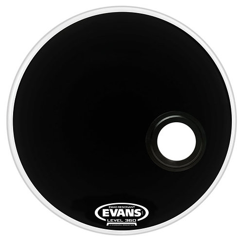 "Evans BD22RB 22"" EQ3 Resonant Bass Drum Head in Black"