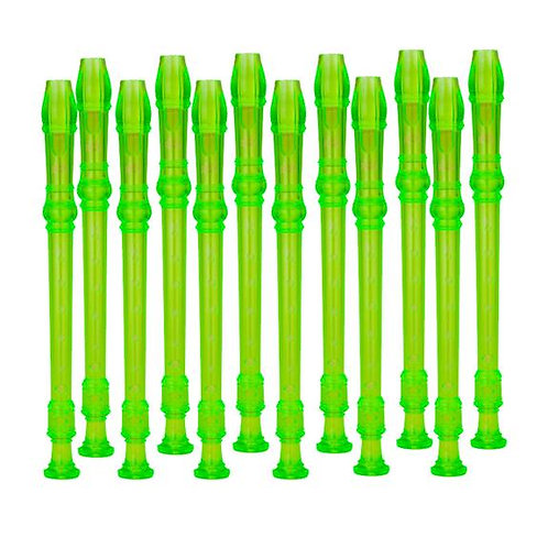 Ravel - 12 Pack Transparent Green Recorders w/ Cleaning Rod & Bag