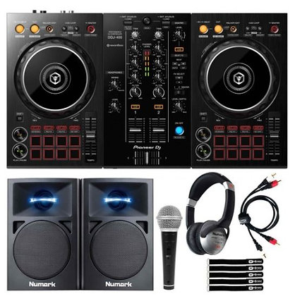 Numark Party Mix DJ Controller with Professional DJ Headphones & Dynamic Vocal M