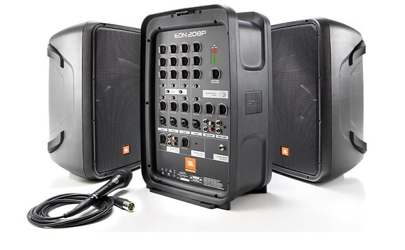 "JBL EON208P Portable 8"" 2-Way PA with 8-Channel Active Mixer And Bluetooth"