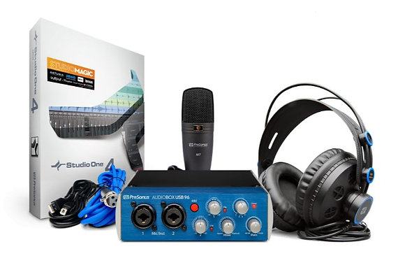 PreSonus AudioBox USB 96 Studio Bundle with AudioBox USB 96 Interface, Headphone