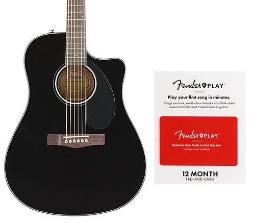 Fender CD-60SCE Black with 12-Month Play Acoustic-Electric Guitar with 12-Month